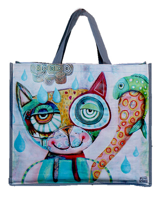 Cat with Fish Tote Bag