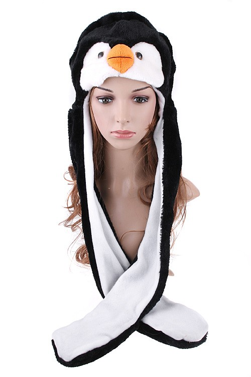 Cute Penguin Hat & Earmuffs with Attached Gloves