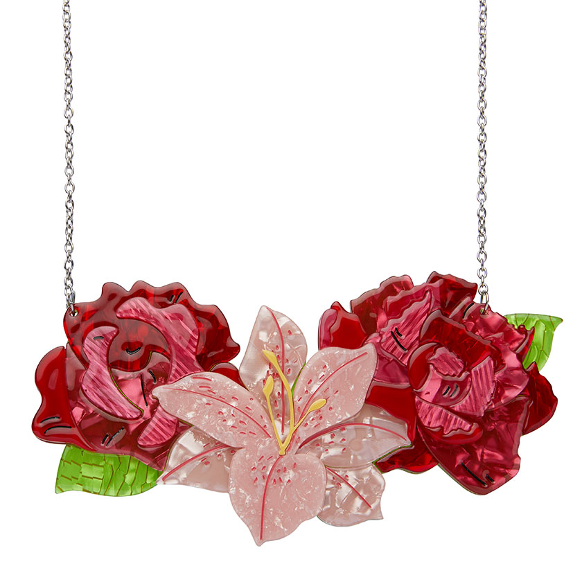 Tickled Pink Rose, Lily and Peony Necklace (Large)